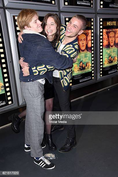 Louis Hofmann Svenja Jung and Jannik Schuemann attend the 'Die Mitte der Welt' Berlin screening on November 6 2016 in Berlin Germany