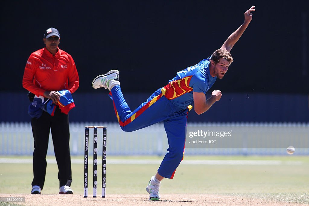 Louis Klazinga of Namibia bowls during an ICC World Cup qualifying match between Namibia and Kenya on January 17, 2014 in Mount Maunganui, New Zealand.