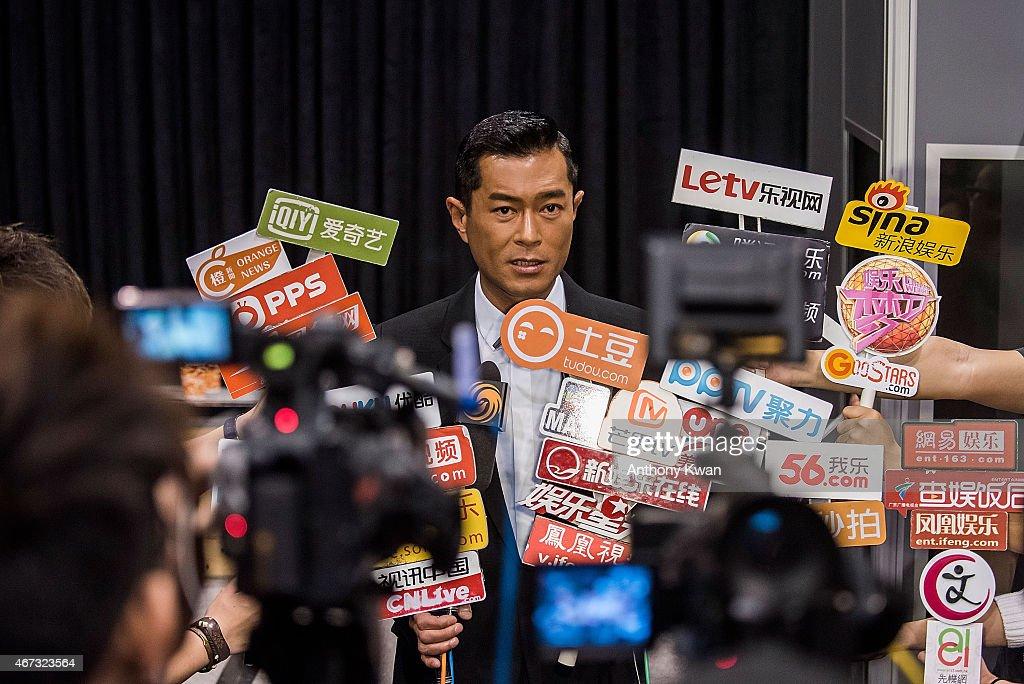 Louis Koo of Hong Kong speaks with the media at Wild City Press Conference during the 39th Hong Kong International Film Festival at Hong Kong Convention and Exhibition Centre on March 23, 2015 in Hong Kong, Hong Kong.