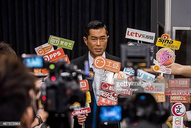 Louis Koo of Hong Kong speaks with the media at Wild City Press Conference during the 39th Hong Kong International Film Festival at Hong Kong...