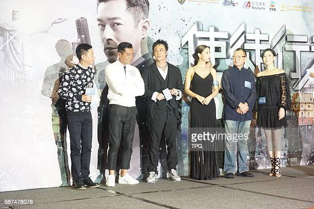 Louis KooNick CheungFrancis Ng and Charmaine Sheh attend the premiere of Line Walker on 08th August 2016 in Hongkong China