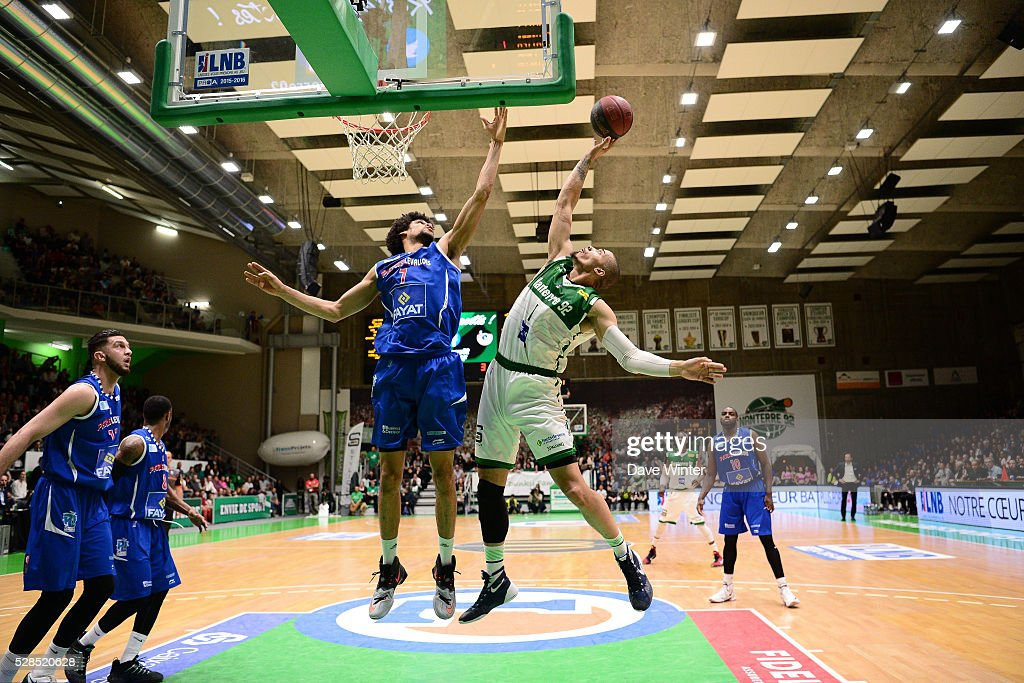Louis Labeyrie of Paris Levallois and Fernando Raposo of Nanterre during the basketball French Pro A League match between Nanterre and Paris Levallois on May 5, 2016 in Nanterre, France.