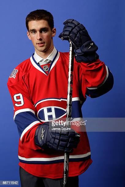 Louis Leblanc of the Montreal Canadiens poses for a photo after he was selected overall by the Canadiens during the first round of the 2009 NHL Entry...
