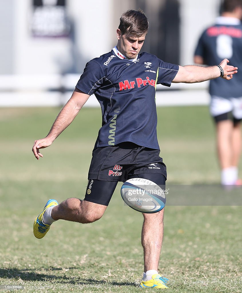 Louis Ludik of the Sharks during The Sharks training session at Growthpoint Kings Park on June 13, 2013 in Durban, South Africa.