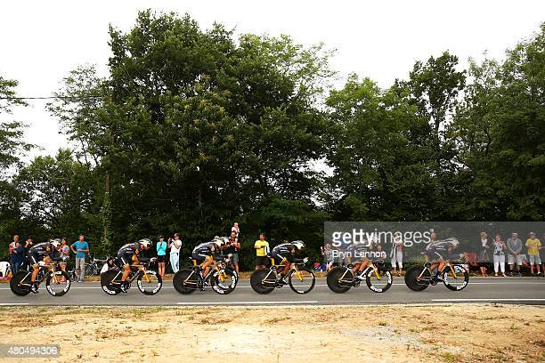 Louis Meintjes of South Africa and MTNQhubeka leads his team during stage nine of the 2015 Tour de France a 28km team time trial between Vannes and...