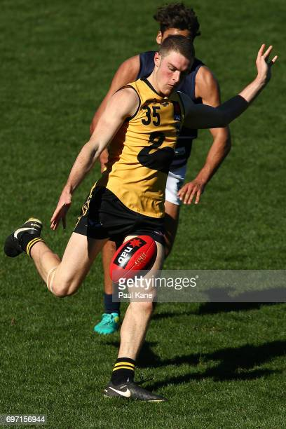 Louis Miller of Western Australia passes the ball during the U18 Championships match between Western Australia and Victoria Metro at Domain Stadium...