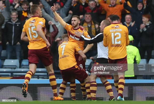 Louis Moult of Motherwell celebrates scoring his second goal during the Betfred League Cup Semi Final between Rangers and Motherwell at Hampden Park...