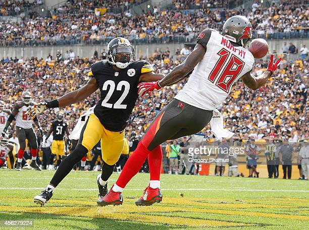 Louis Murphy of the Tampa Bay Buccaneers can't make a catch in front of William Gay of the Pittsburgh Steelers during the fourth quarter at Heinz...