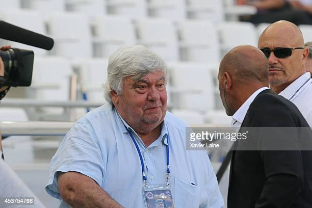 Louis Nicollin attends the French Ligue 1 between Olympique de Marseille FC and Montpellier Herault FC at Stade Velodrome on August 17 2014 in...