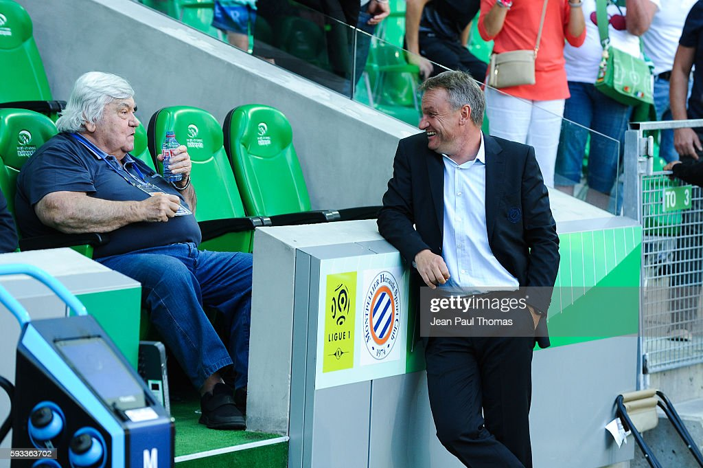 Louis NICOLLIN president of Montpellier and Frederic HANTZ coach of Montpellier during the Ligue 1 match between As Saint Etienne and Montpellier...