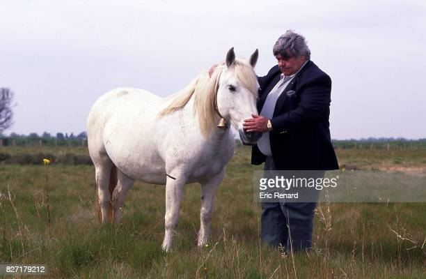 Louis Nicollin president of Montpellier with his horse during a photoshoot in Montpellier France on 10th April 1996