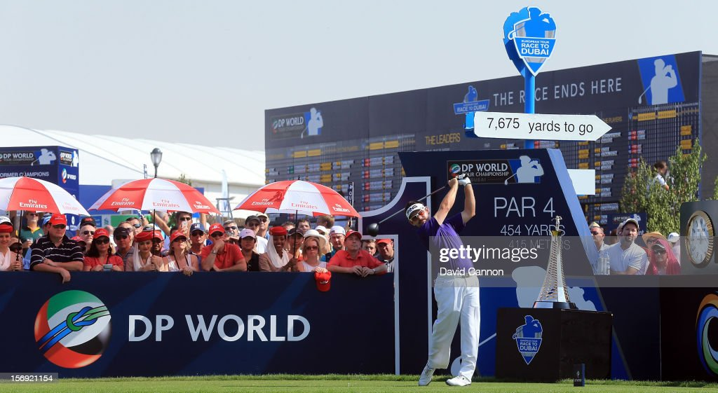 Louis Oosthuizen of South Afrca drives from the first tee during the final round of the 2012 DP World Tour Championship on the Earth Course at Jumeirah Golf Estates on November 25, 2012 in Dubai, United Arab Emirates.