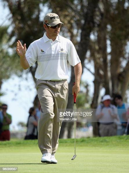 Louis Oosthuizen of South Africa acknowledges the crowd on the sixth green during the fourth round of the Open de Andalucia 2010 at Parador de Malaga...