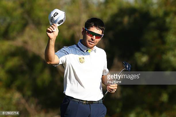 Louis Oosthuizen of South Africa acknowledges the gallery after completing his round during day three of the 2016 Perth International at Karrinyup GC...