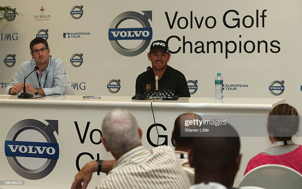 Louis Oosthuizen of South Africa addresses a press conference ahead of the Volvo Golf Champions at Durban Country Club on January 9, 2013 in Durban, South Africa.