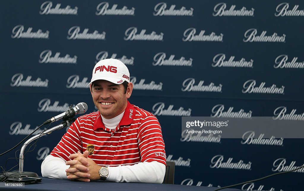 Louis Oosthuizen of South Africa addresses the media on Pro Am day prior to the start of the Ballantine's Championship at Blackstone Golf Club on April 24, 2013 in Icheon, South Korea.