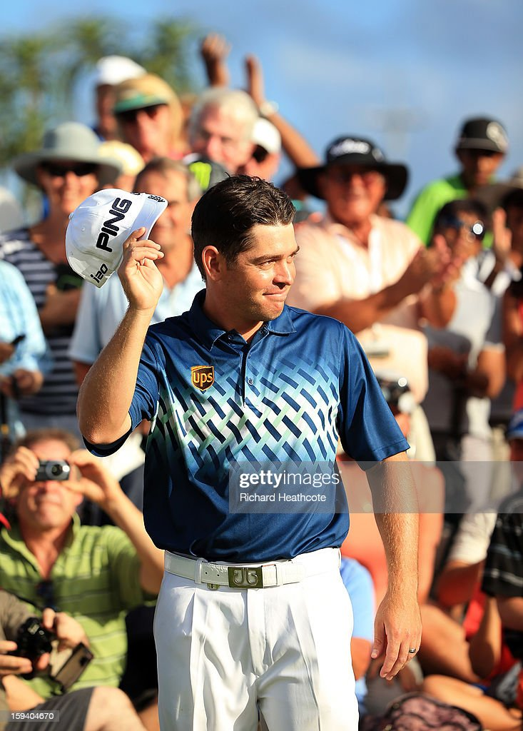 Louis Oosthuizen of South Africa aknowledges the crowd on the 18th green during the final round of the Volvo Champions at Durban Country Club on January 13, 2013 in Durban, South Africa.