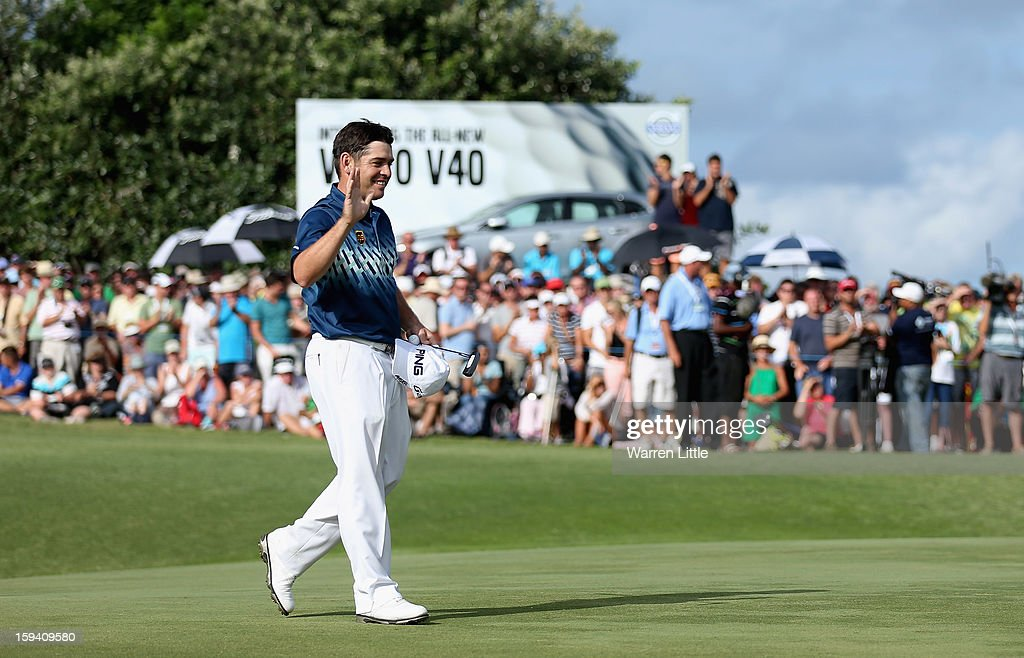 Louis Oosthuizen of South Africa celebrates after winning the Volvo Golf Champions on a score of -16 under par at Durban Country Club on January 13, 2013 in Durban, South Africa.