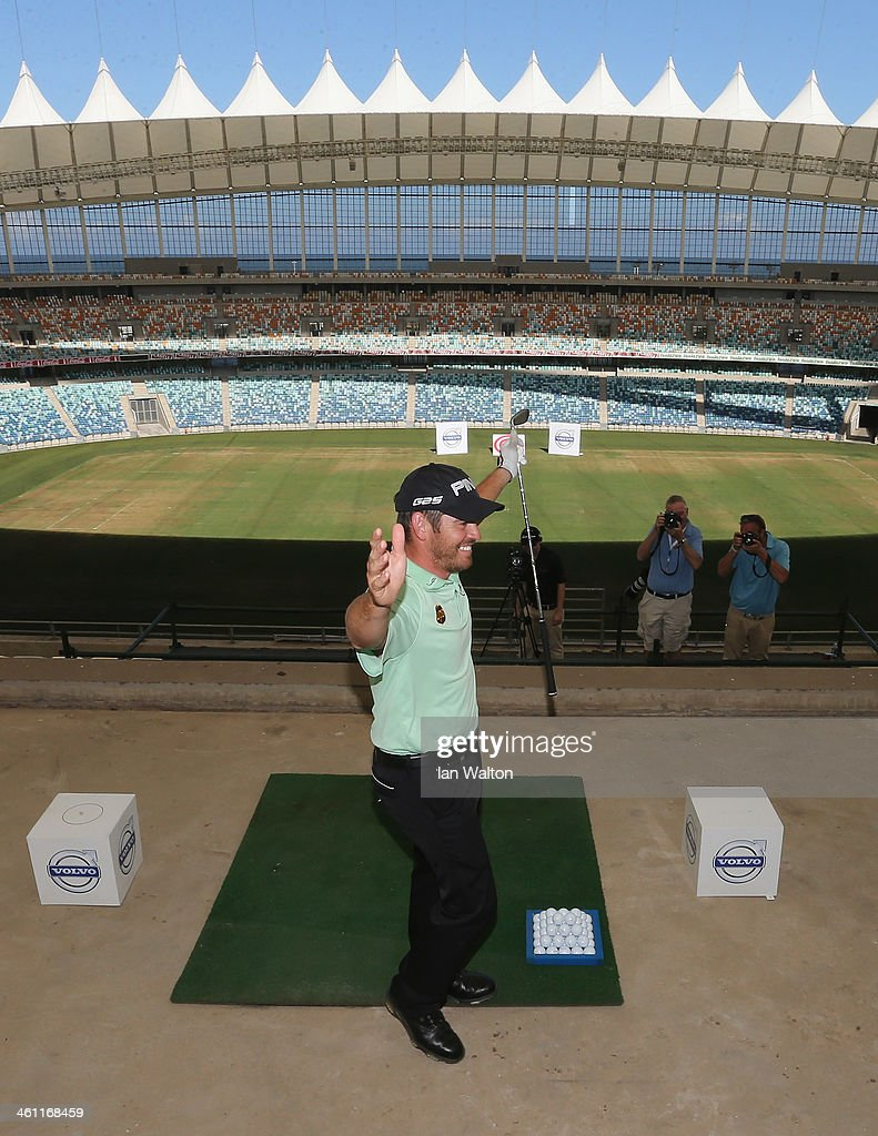 Louis Oosthuizen of South Africa celebrates during the Volvo Golf Champions Moses Mabhida Stadium Challenge at the 2014 Volvo Golf Chamions at Durban Country Club on January 7, 2014 in Durban, South Africa.