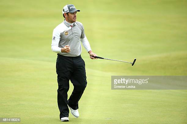 Louis Oosthuizen of South Africa celebrates his birdie putt on the 18th green during the final round of the 144th Open Championship at The Old Course...