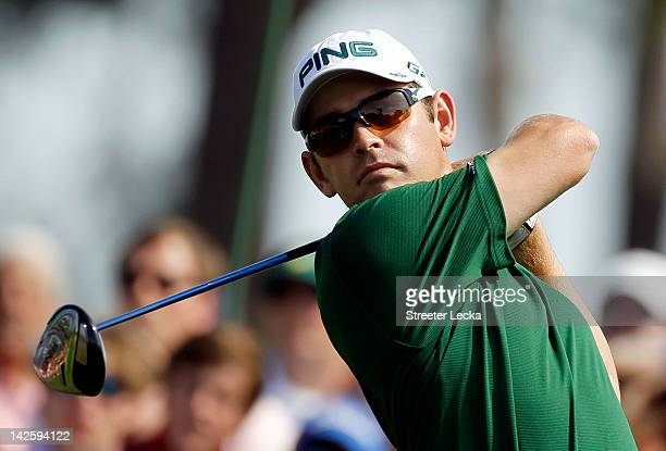 Louis Oosthuizen of South Africa drives off the eighth tee during the final round of the 2012 Masters Tournament at Augusta National Golf Club on...