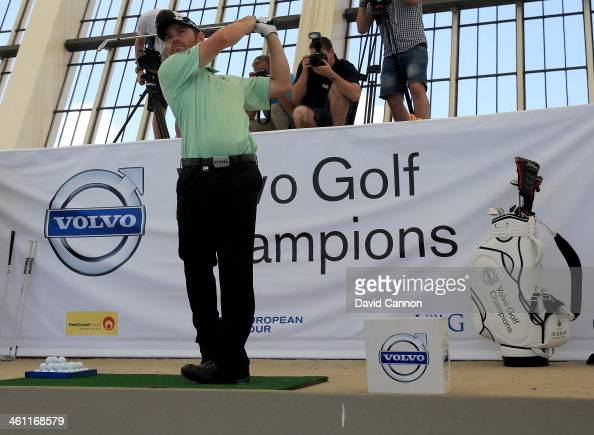 Louis Oosthuizen of South Africa follows his shot during The Volvo Golf Champions Moses Mabhida Stadium Challenge as a preview for the 2014 Volvo...