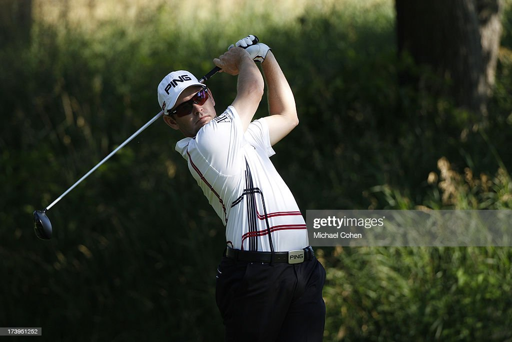 Louis Oosthuizen of South Africa hits a drive during the second round of the John Deere Classic held at TPC Deere Run on July 12, 2013 in Silvis, Illinois.