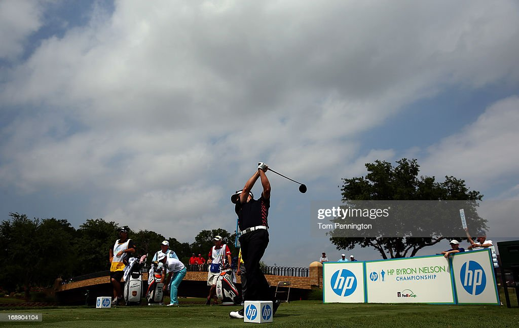 <a gi-track='captionPersonalityLinkClicked' href=/galleries/search?phrase=Louis+Oosthuizen&family=editorial&specificpeople=241573 ng-click='$event.stopPropagation()'>Louis Oosthuizen</a> of South Africa hits a shot during the first round of the 2013 HP Byron Nelson Championship at the TPC Four Seasons Resort on May 16, 2013 in Irving, Texas.
