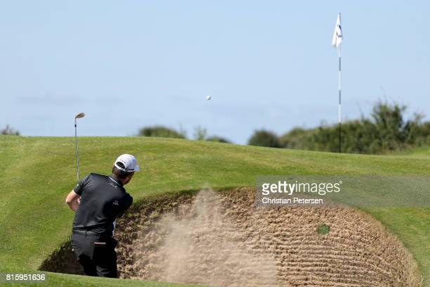 Louis Oosthuizen of South Africa hits from a bunker during a practice round prior to the 146th Open Championship at Royal Birkdale on July 17 2017 in...
