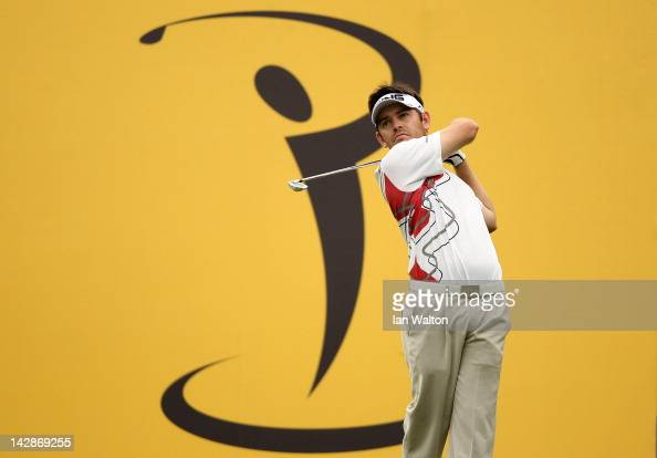 Louis Oosthuizen of South Africa hits from the tee during the 3rd round of the Maybank Malaysian Open at Kuala Lumpur Golf Country Club on April 14...