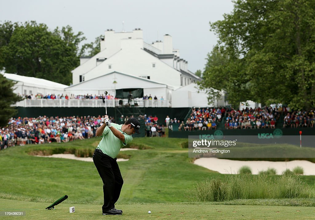 Louis Oosthuizen of South Africa hits his tee shot on the 13th hole during Round One of the 113th U.S. Open at Merion Golf Club on June 13, 2013 in Ardmore, Pennsylvania.