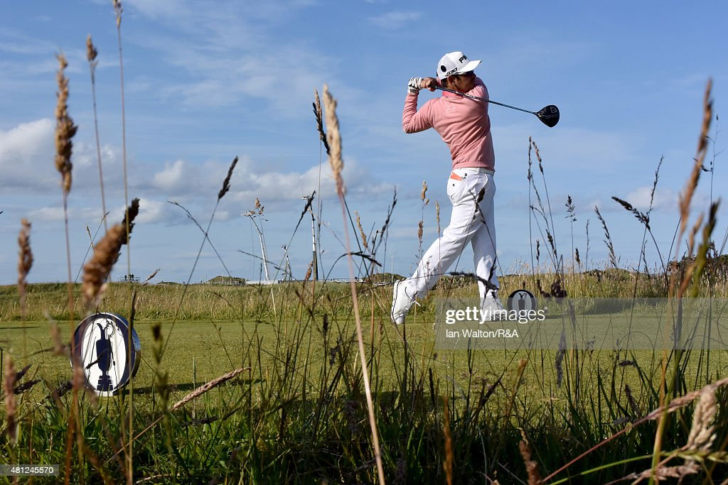 Louis Oosthuizen of South Africa hits his tee shot on the 15th hole during the second round of the 144th Open Championship at The Old Course on July 17, 2015 in St Andrews, Scotland.