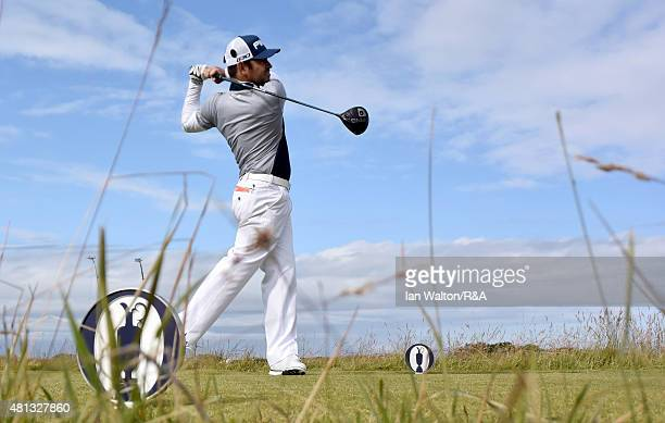 Louis Oosthuizen of South Africa hits his tee shot on the 15th hole during the third round of the 144th Open Championship at The Old Course on July...