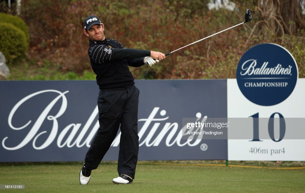 Louis Oosthuizen of South Africa hits his tee-shot on the tenth hole during the first round of the Ballantine's Championship at Blackstone Golf Club on April 25, 2013 in Icheon, South Korea.