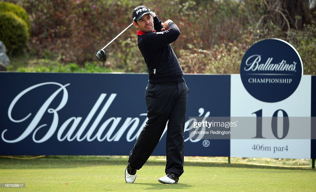 Louis Oosthuizen of South Africa hits his tee-shot on the tenth hole during the second round of the Ballantine's Championship at Blackstone Golf Club on April 26, 2013 in Icheon, South Korea.