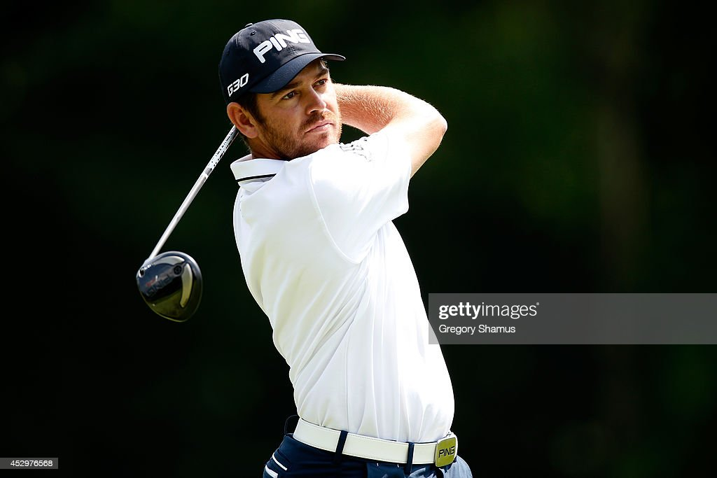 <a gi-track='captionPersonalityLinkClicked' href=/galleries/search?phrase=Louis+Oosthuizen&family=editorial&specificpeople=241573 ng-click='$event.stopPropagation()'>Louis Oosthuizen</a> of South Africa hits off the sixth tee during the first round of the World Golf Championships-Bridgestone Invitational at Firestone Country Club South Course on July 31, 2014 in Akron, Ohio.