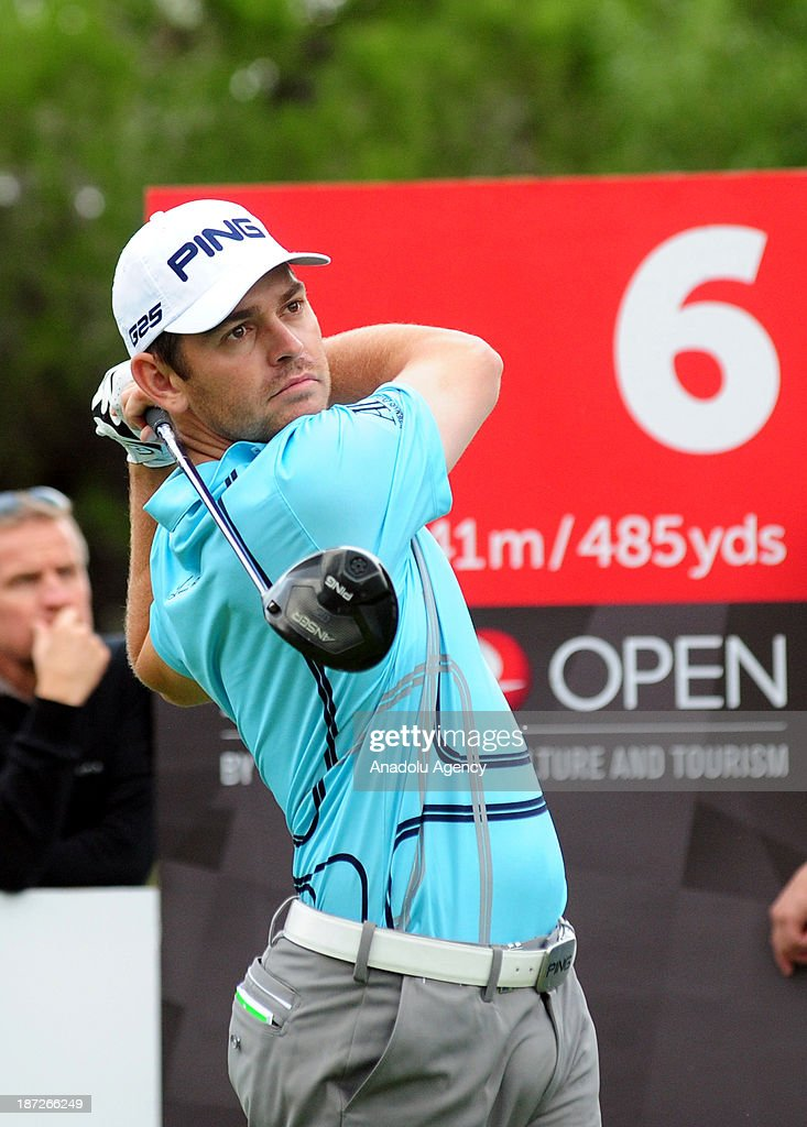 Louis Oosthuizen of South Africa hits the ball during the first day of the 'Turkish Airlines Open Golf Tournament' on November 7, 2013 in Antalya, Turkey. Turkish Airlines Open 2013 Golf Tournament held in Belek town of southern Antalya province between November 7 and 10.