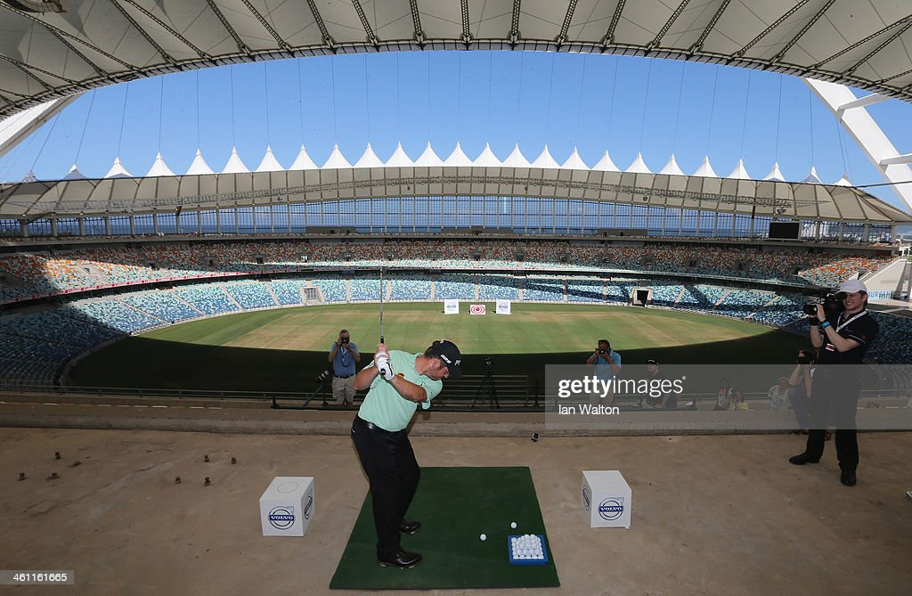 Louis Oosthuizen of South Africa in action at the Volvo Golf Champions Moses Mabhida Stadium Challenge at the 2014 Volvo Golf Champions at Durban Country Club on January 7, 2014 in Durban, South Africa.