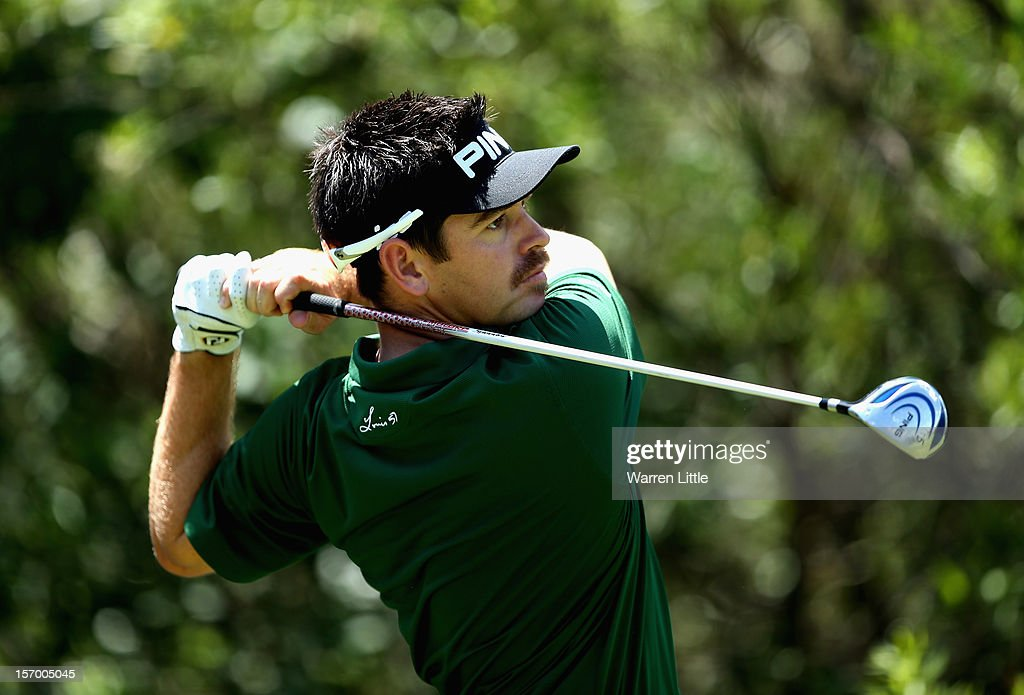<a gi-track='captionPersonalityLinkClicked' href=/galleries/search?phrase=Louis+Oosthuizen&family=editorial&specificpeople=241573 ng-click='$event.stopPropagation()'>Louis Oosthuizen</a> of South Africa in action during a practice round ahead of the Nedbank Golf Challenge at the Gary Player Country Club on November 27, 2012 in Sun City, South Africa.