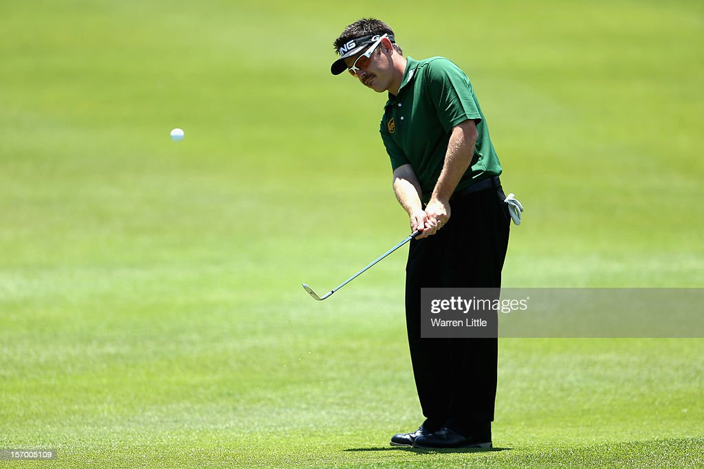 Louis Oosthuizen of South Africa in action during a practice round ahead of the Nedbank Golf Challenge at the Gary Player Country Club on November 27, 2012 in Sun City, South Africa.