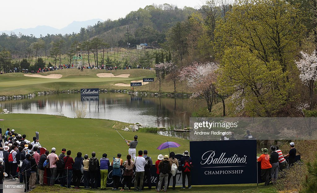 Louis Oosthuizen of South Africa in action during the final round of the Ballantine's Championship at Blackstone Golf Club on April 28, 2013 in Icheon, South Korea.