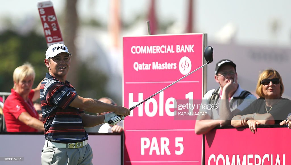 Louis Oosthuizen of South Africa in action during the first round of the Qatar Masters Golf tournament in the Qatari capital Doha, on January 23, 2013.