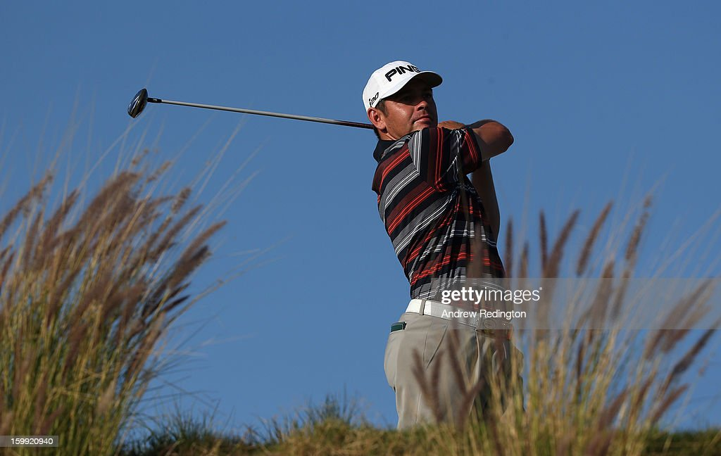 Louis Oosthuizen of South Africa in action during the first round of the Commercial Bank Qatar Masters held at Doha Golf Club on January 23, 2013 in Doha, Qatar.