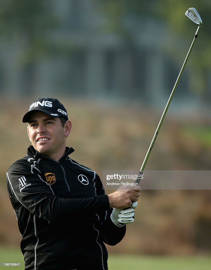 Louis Oosthuizen of South Africa in action during the first round of the BMW Masters at Lake Malaren Golf Club on October 24, 2013 in Shanghai, China.