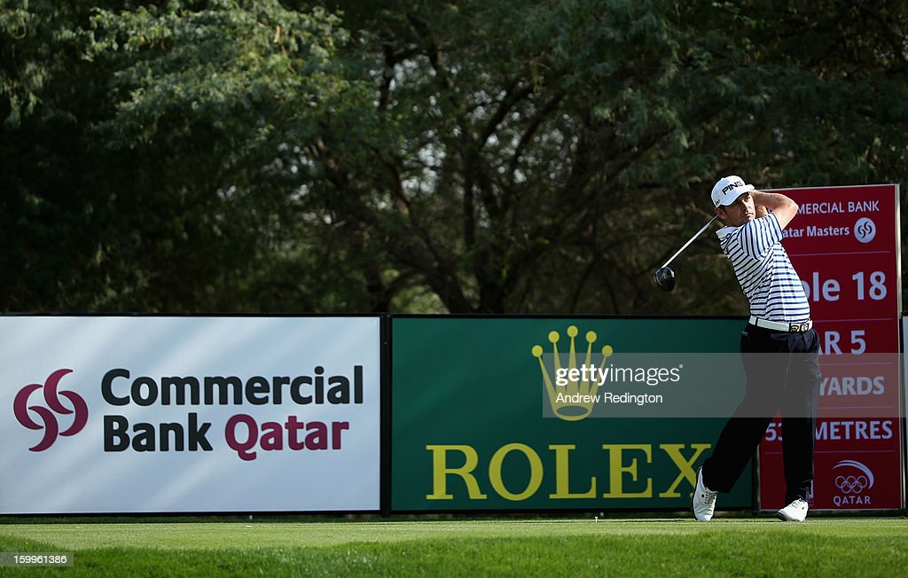 Louis Oosthuizen of South Africa in action during the second round of the Commercial Bank Qatar Masters held at Doha Golf Club on January 24, 2013 in Doha, Qatar.