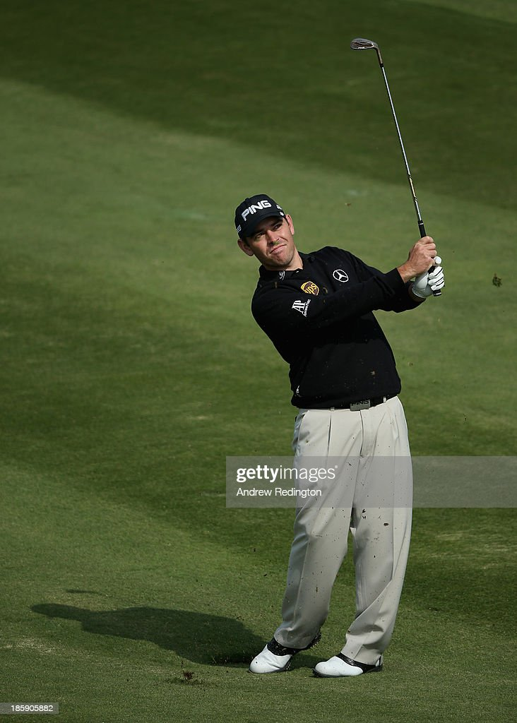 Louis Oosthuizen of South Africa in action during the third round of the BMW Masters at Lake Malaren Golf Club on October 26, 2013 in Shanghai, China.