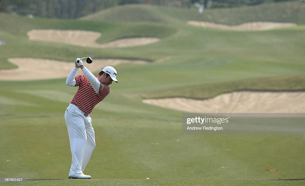 Louis Oosthuizen of South Africa in action on Pro Am day prior to the start of the Ballantine's Championship at Blackstone Golf Club on April 24, 2013 in Icheon, South Korea.