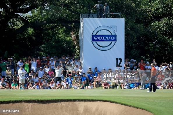 Louis Oosthuizen of South Africa just misses a birdie putt on the par 3 12th hole during the final round of the 2014 Volvo Golf Champions at Durban...