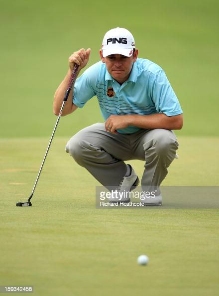 Louis Oosthuizen of South Africa lines up a putt on the 7th green during the third round of the Volvo Champions at Durban Country Club on January 12...