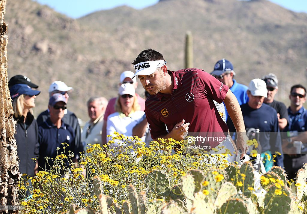 Louis Oosthuizen of South Africa looks for his second shot on the second hole during the quarterfinal round of the World Golf Championships - Accenture Match Play Championship at The Golf Club at Dove Mountain on February 22, 2014 in Marana, Arizona.